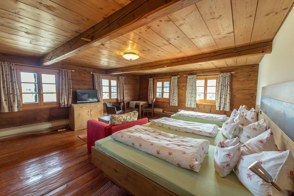 Dreibettzimmer Ferienhaus Bergblick